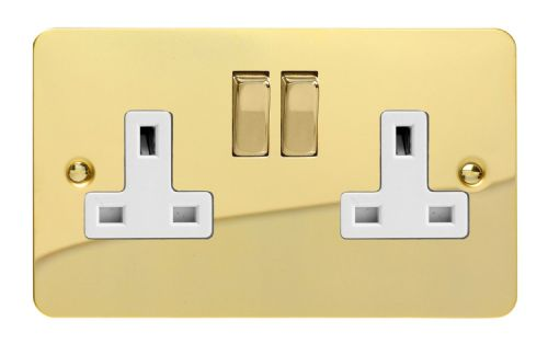 Varilight XFV5DW Ultraflat Polished Brass 2 Gang Double 13A Switched Plug Socket